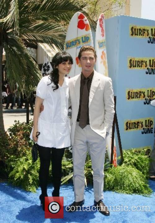 Shia LaBeouf and Zooey Deschanel Premiere of 'Surfs...