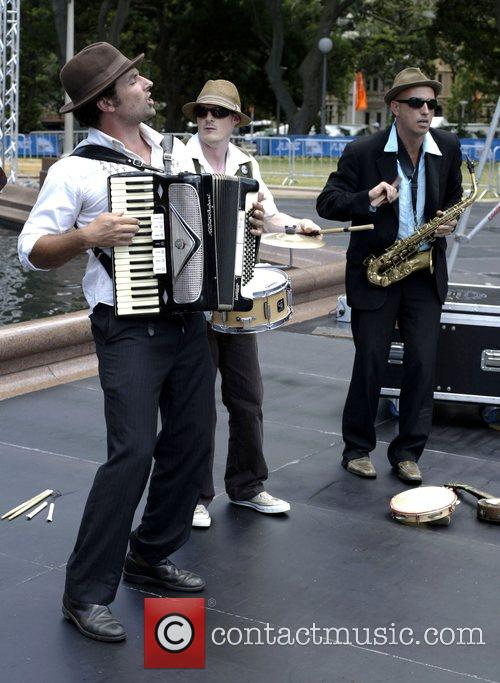 Performing at a photocall for the Sydney Festival...
