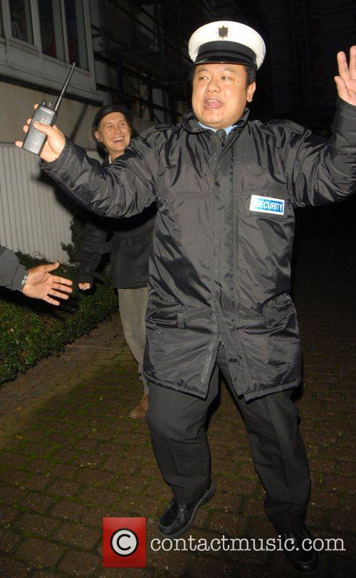 Mark Owen being protected by an overzealous security...