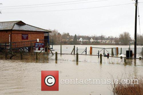 Tewkesbury Cricket Club green completely submerged under flood...