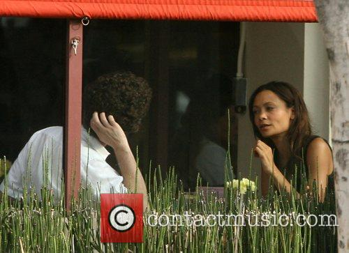 Thandie Newton  out for lunch with a...