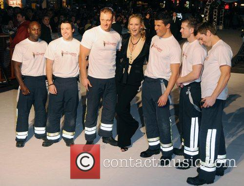 Uma Thurman with firefighters UK premiere of 'The...