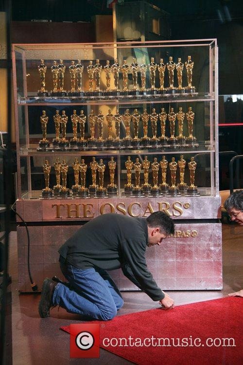 The Oscar golden statuettes are on display at...