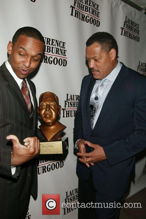 Dwayne Ashley and Laurence Fishburne Opening night afterparty...
