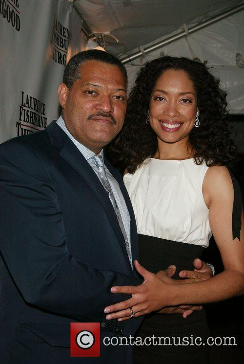 Laurence Fishburne and Gina Torres Opening night afterparty...