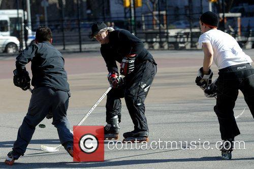 Tim Robbins playing street hockey in SoHo New...