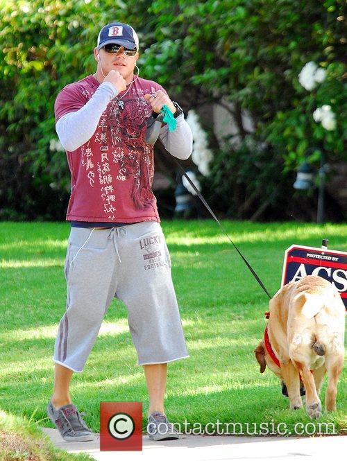 Tito Ortiz walks his dog Beverly Hills, California