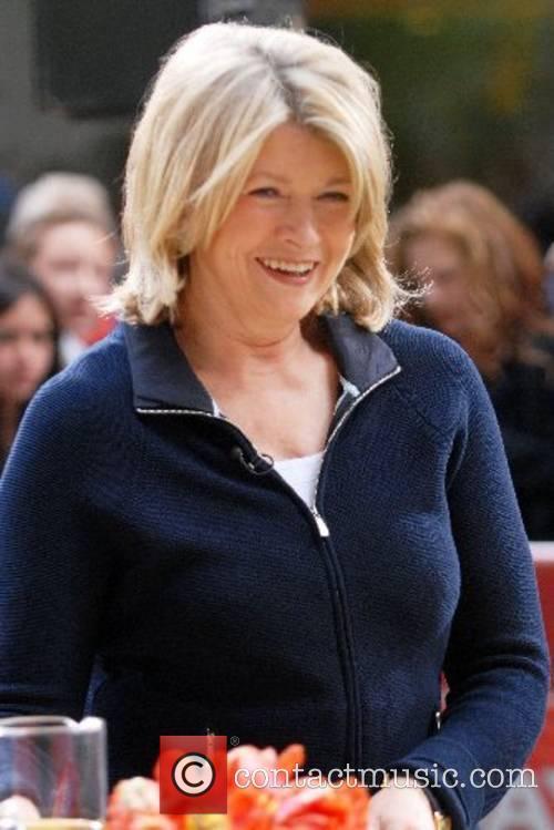 Martha Stewart prepares chicken at Rockefeller Plaza during...