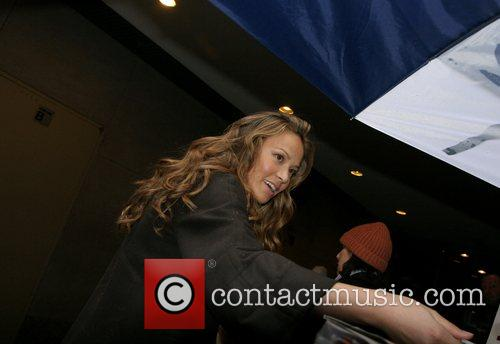 Moon Bloodgood at Rockefeller Plaza for an appearance...
