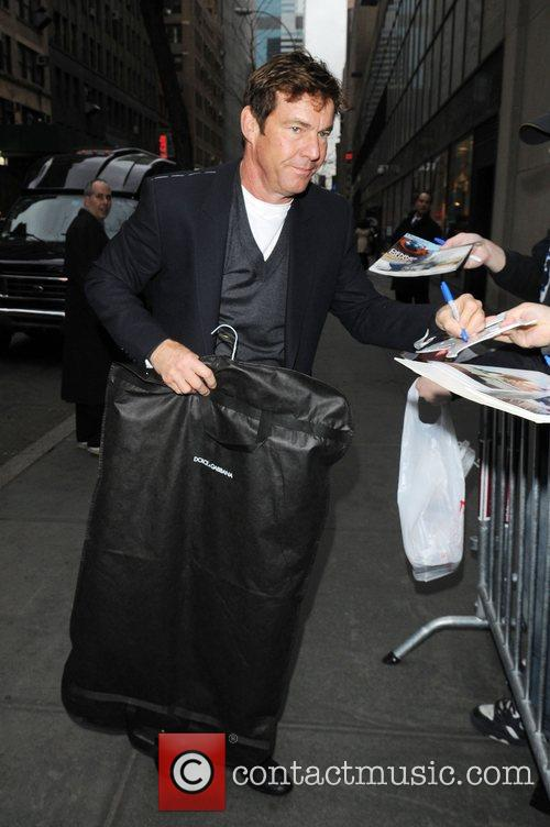 Dennis Quaid at the Rockefeller Plaza to appear...