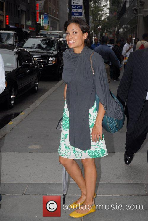 Rosario Dawson in Rockefeller Plaza after appearing on...