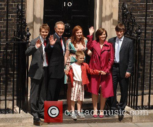 PM Tony Blair and family before heading to...