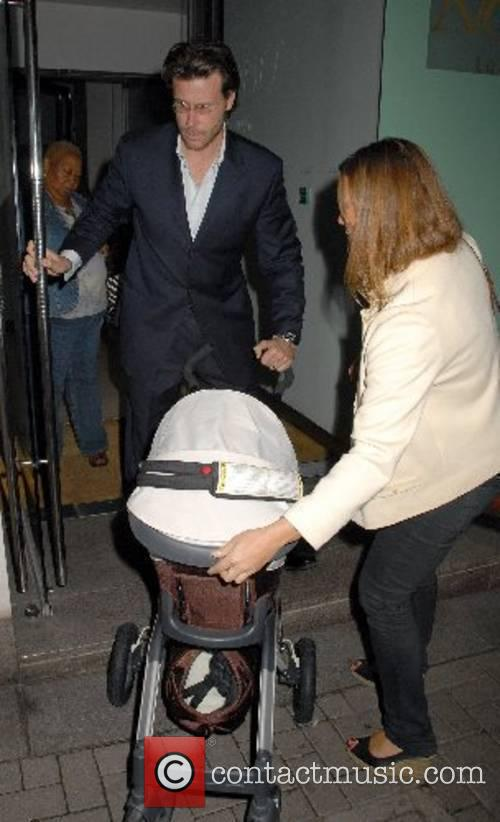 Dean McDermott with baby son Liam leaving Nobu...