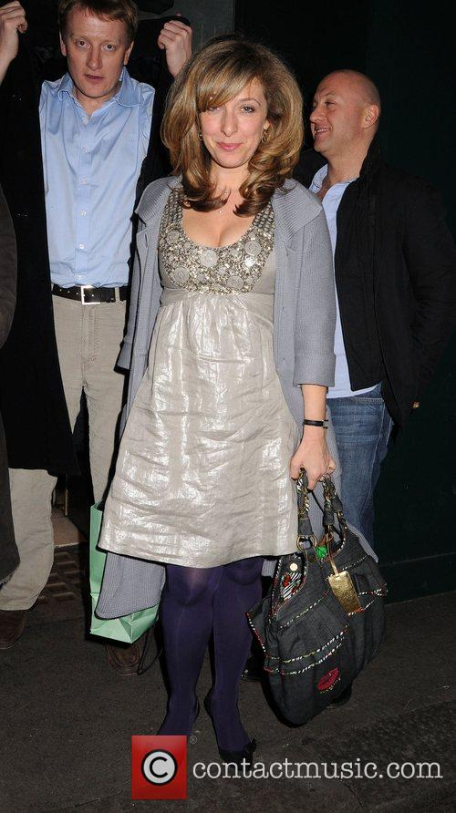 Ex Eastenders actress leaving the Ivy Restaurant.