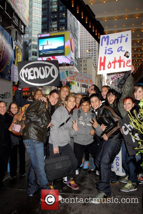 The new Menudo outside MTV TRL Studios in...