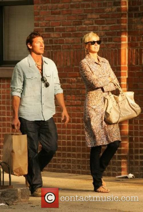 Ty Pennington leaving a restaurant with his girlfriend...