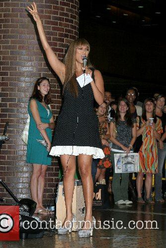 Tyra Banks hosts the Tracy Reese fashion show...