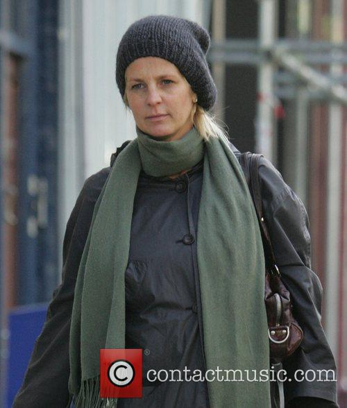 Ulrika Jonsson wraps up against the cold while...