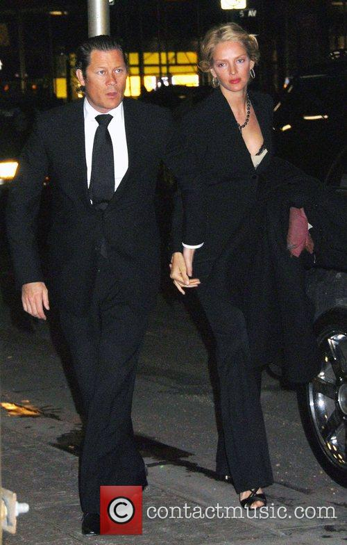 Uma Thurman and Arpad Busson arrive for the...
