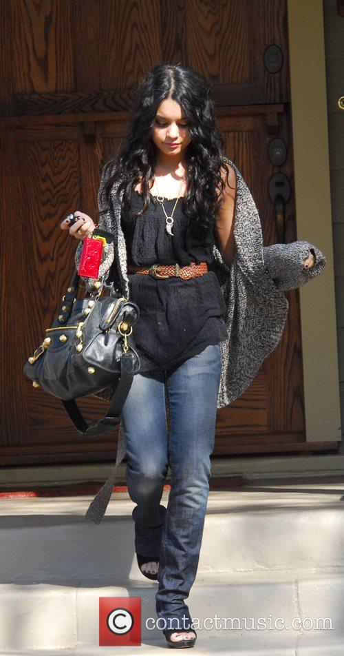 Vanessa Hudgens leaving the home of a songwriter