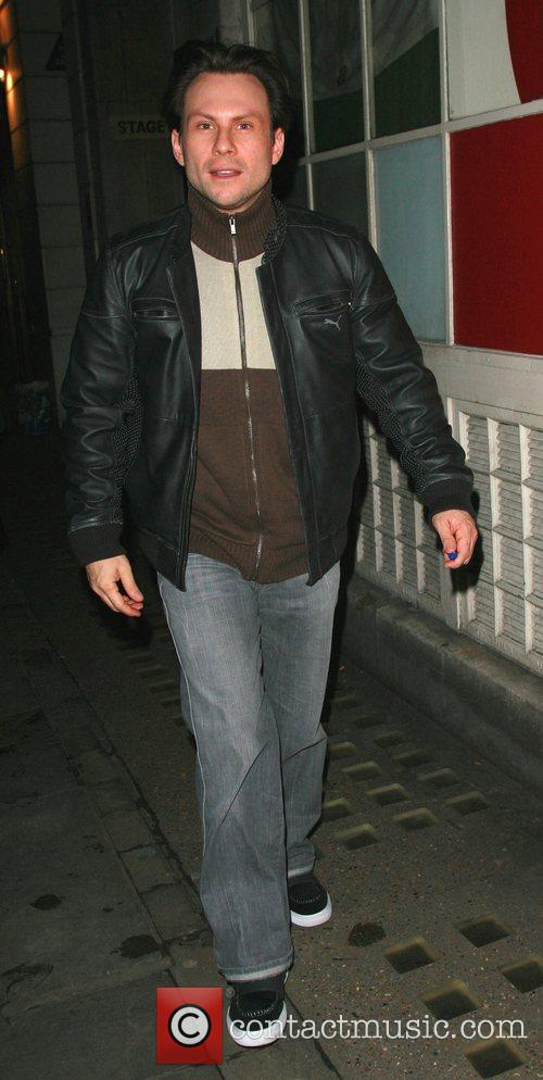 Christian Slater arriving at the Vaudeville Theatre