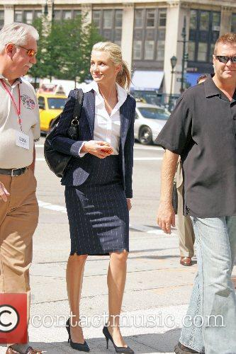 Cameron Diaz filming a scene on the set...