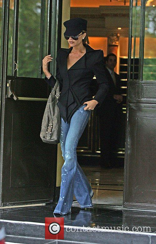 Victoria Beckham leaving the Dorchester Hotel wearing a...