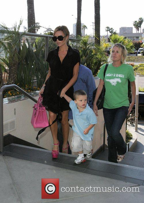 Victoria Beckham with Cruz Beckham heading for lunch...