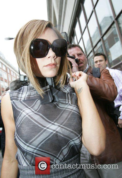 Victoria Beckham arriving at the Radio 1 studio...