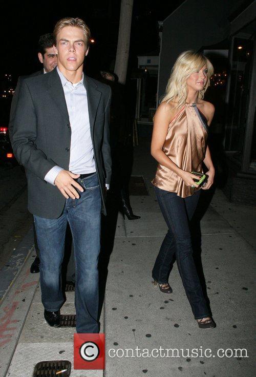 Derek Hough and Julianne Hough arriving at Villa...
