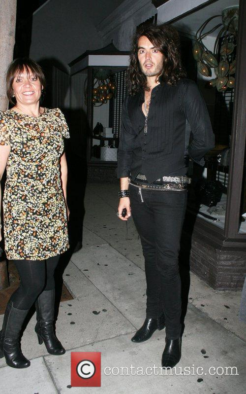 Russell Brand arriving at Villa Lounge in West...