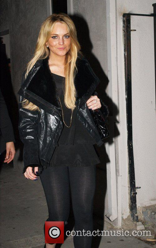 Lindsay Lohan leaving Villa Lounge in West Hollywood...