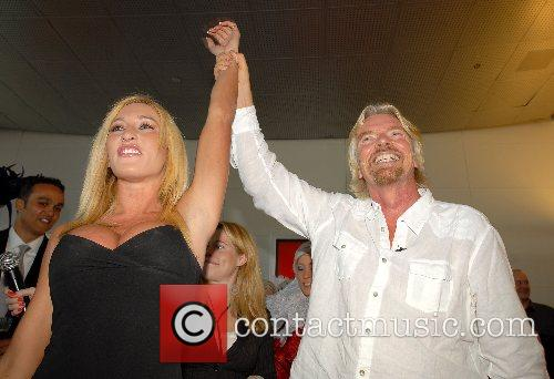 Kyla Ebbert, Richard Branson Virgin America celebrates the...