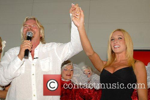 Richard Branson, Kyla Ebbert Virgin America celebrates the...
