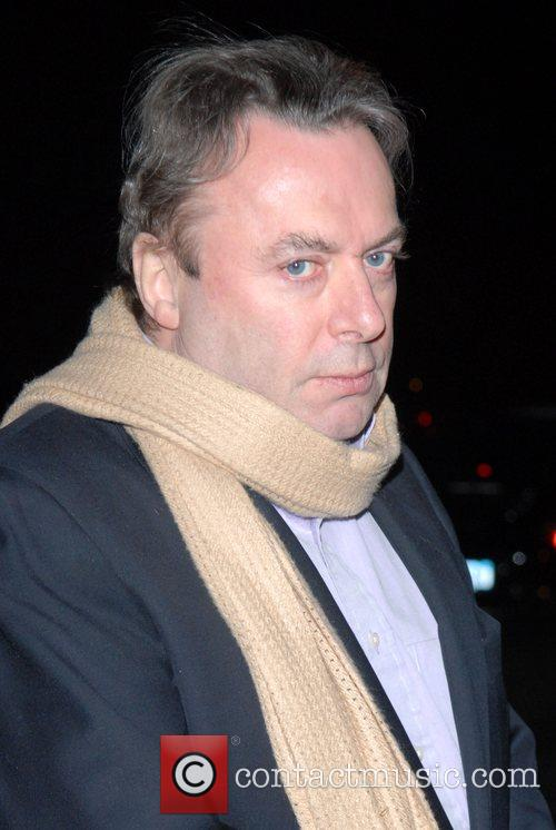 Christopher Hitchens arriving for dinner at the Waverly...