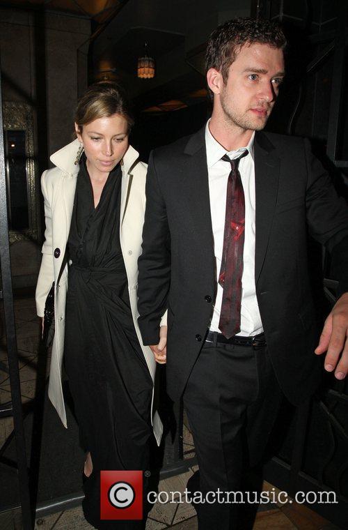 Justin Timberlake and Jessica Biel leaving a wedding...