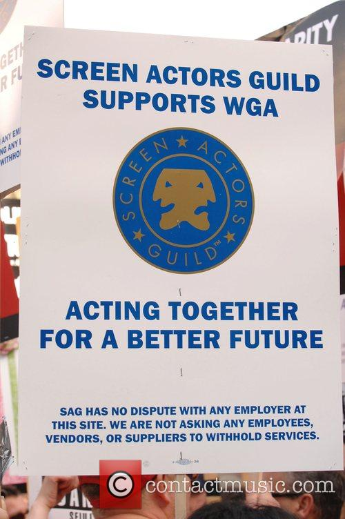 The Writers Guild America West solidarity march in...