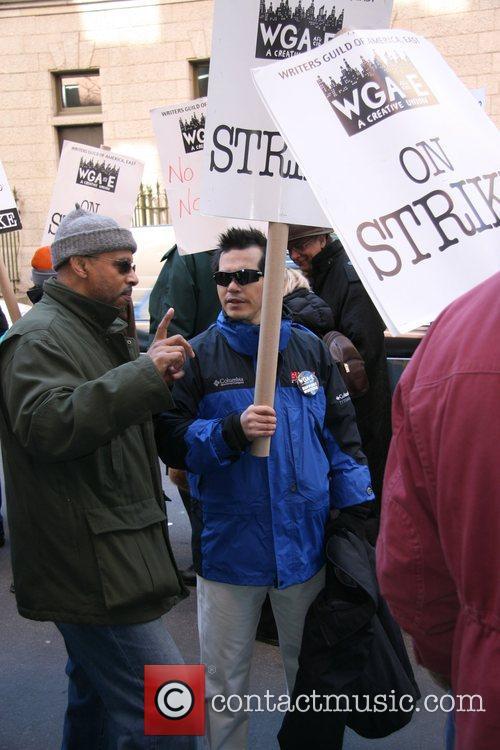 John Leguizamo WGA Protestors marching outside the ABC...