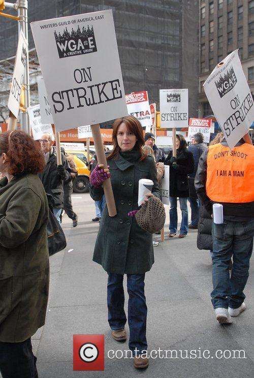 Tina Fey Celebrities help support striking WGA Writers...