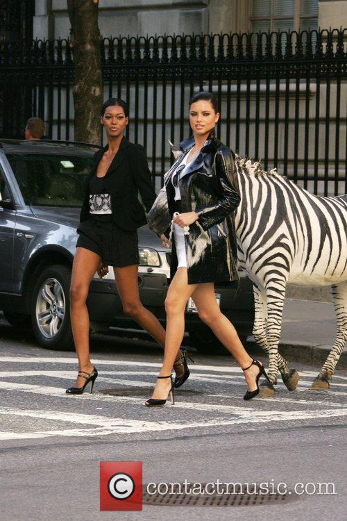 Adriana Lima and Jessica White filming a new...