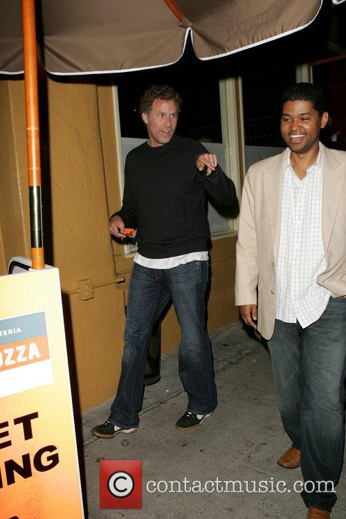 Will Ferrell leaving Osteria Mozza restaurant, jokes with...