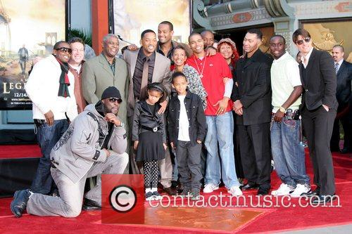 Will Smith, with his family and friends, Jaden...