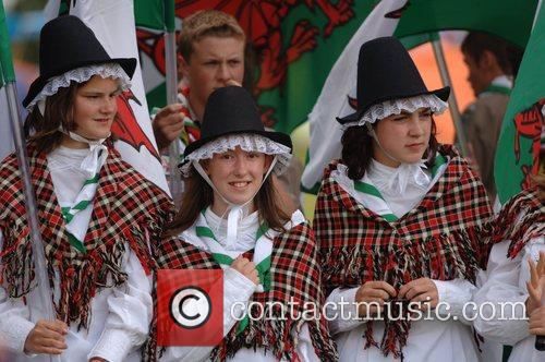 A Welsh contingent at the opening ceremony of...