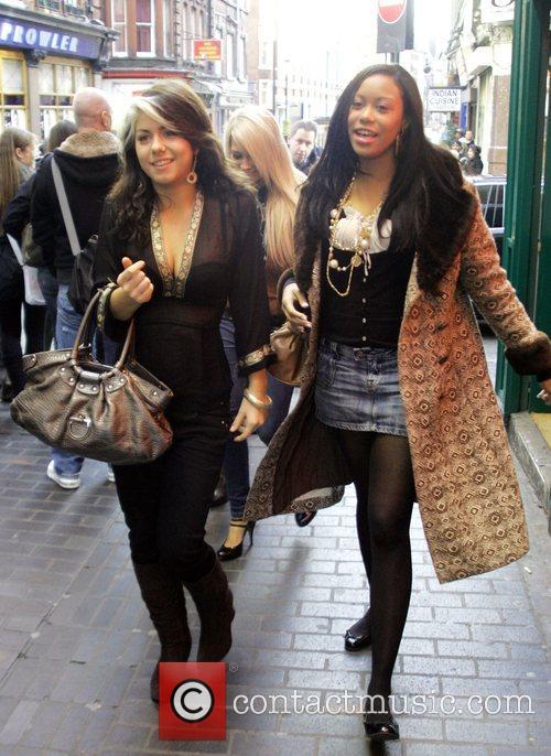 Phoebe Brown, Leah Lauder outside Madame Jojo's London,...