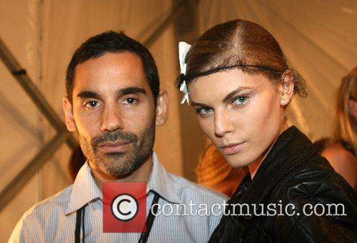 James Kaliardos and model Mercedes-Benz Fashion Week New...