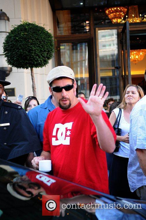 Adam Sandler  leaving Ritz Carlton Hotel with...