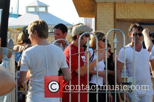 Adam Sandler  arriving at Bundespressestrand (beach club...