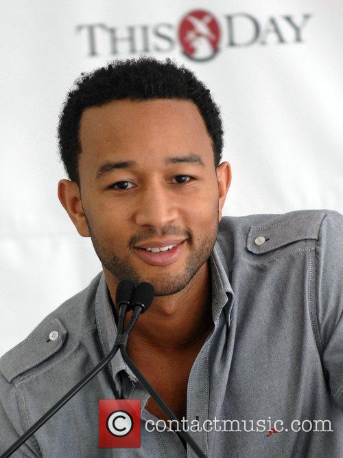 John Legend holds a press conference at the...