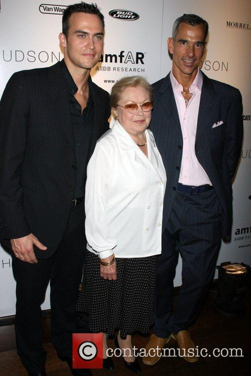 Cheyenne Jackson, Dr Mathilde Krim and Jerry Mitchel...