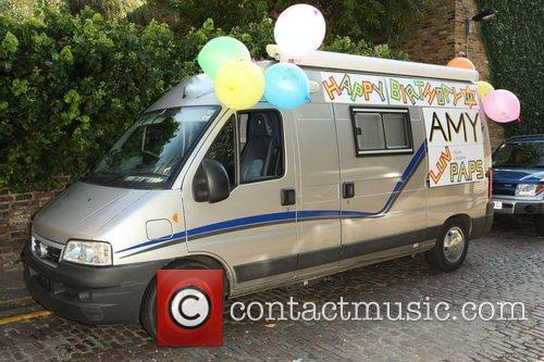 A van with a birthday message for Amy...